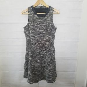 Banana Republic Gray Fit Flare Dress Faux Leather
